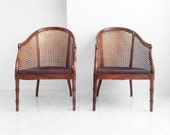 10% SALE 2 hollywood regency MID CENTURY faux bamboo cane parlor chairs