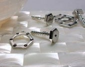 Clasp, Toggle Clasp, Steampunk, Nut's n bolts, Silver tone, Crystal accent, Findings, fancy, Jewelry Supplies, Jewellery Supplies