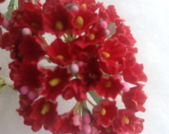 12 Bouquets  Vintage Millinery Flowers Forget Me Nots Red - Easter Baskets Wedding Flowers - Packaging or Crafts