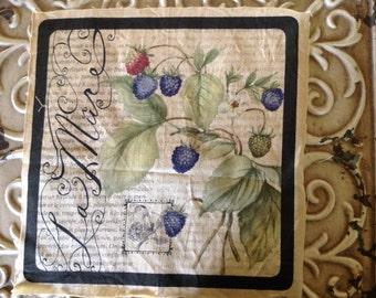 LAST ONE  - La Mure French Script Motif Distressed - French Blackberries
