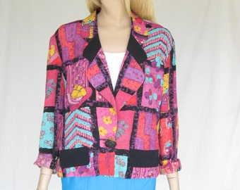 Vintage 80s Cropped Rayon Jacket