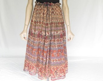 Vintage 80s India Gauze Sheer Boho Skirt