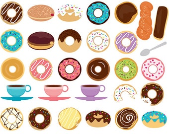 Coffee and donuts clipart - doughnut clip art, sprinkles, chocolate, frosting, digital clipart for scrapbookings, bakery, sweets, food