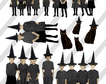 Digital Collage Sheet Halloween Girl Witch and Black Cat Images (Sheet No.O214) Instant Download