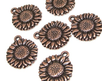 TierraCast SUNFLOWER DROP - Antique Copper Charm - Sun Flower Charm - 17mm Copper Pendant - Summer Fall Supplies (P764)