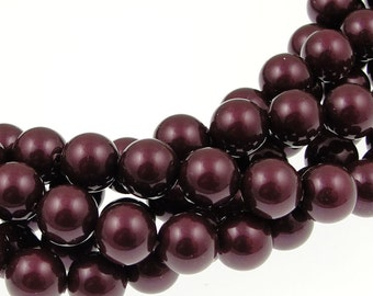 8mm BLACKBERRY Swarovski Pearls - Swarovski Crystal Pearl Beads - 5810 8mm Pearls - Black Berry Pearls Dark Plum Eggplant Aubergine