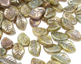 25 Leaf Beads - 14mm x 9mm Czech LUSTER OPAQUE GREEN Glass Leaves - Earthy Blue Sage Green Golden Pressed Glass Beads Autumn Fall Briolette