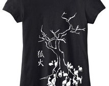 Kitsune Fox T-shirt - traditional japanese gothic design shirt anime manga kawaii japan - ladies fit