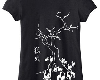 Kitsune Fox T-shirt - womens traditional japanese clothing gothic design shirt anime manga kawaii japan - ladies fit