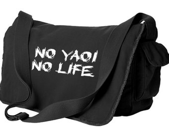 Yaoi Messenger Bag - No yaoi No life - cute yaoi bag gay laptop bag anime fujoshi fangirl fanboy school bag tote crossbody