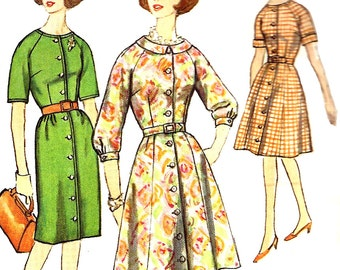 1960s Dress Pattern Vintage Half Size Simplicity Slim Gored Shirtdress Sewing Women's Misses Size 14 . 5 Bust 35 Inches
