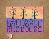 Three Trees ACEO Original Watercolor Painting