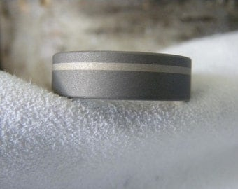 Ring or Wedding Band, Titanium with Offset White Gold Inlay, Sandblasted