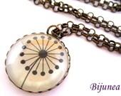Dandelion necklace -  Black dandelion necklace - Spring dandelion necklace - Wish dandelion necklace - White dandelion necklace n636