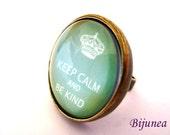 Keep calm ring - Green Keep calm ring - Keep calm and be kind ring - Keep calm ring - Keep calm jewelry r888