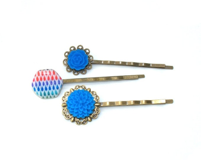 Blue Flower Bobby Pins, Blue Hair Grips, Girls Hair Accessory, Set of Three