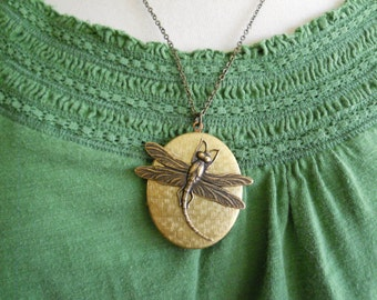 Large Brass Dragonfly Locket Nature Locket Woodland Jewellry Vintage Locket Unique Necklace Renewal Spring Organic Inspired Jewelry