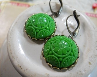 Ornate Molded Glass Vintage Cabochon Earrings with Unique Brass Lever Back Ear Wires Green