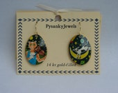 Cat and the fiddle cow jumping over the moon goose egg shell pysanky pysanka earrings