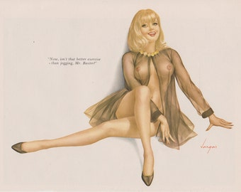11# Rare Early 60's Vintage Vargas Pin Up Girl Playboy Picture Shear Hollywood Regency Nov 1968