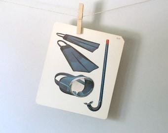 Vintage Flash Card Scuba Gear Flash Card Vintage Home