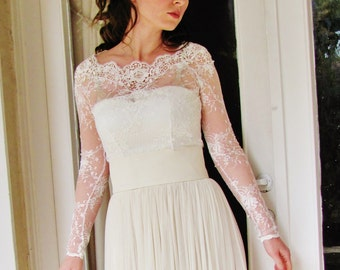 Full length sleeve CAMILLA bridal lace top white lace top white lace blouse bridal bolero jacket wedding bolero