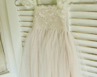 Magic Orchid French lace and silk tulle dress ivory colour over champagne lining
