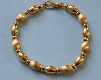 Vintage 14 KT Gold Bead Bracelet Brushed and High Polish Bracelet 11.2 Grams