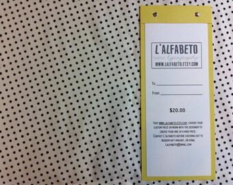 Gift Certificate to L'alfabeto- 20 dollars