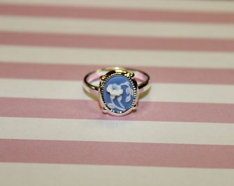Tiny Blue Flower Cameo Ring