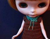 Handmade Crochet Blythe Brown Outfit with Green Ribbon