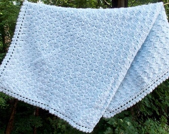 Pale Blue Baby Blanket Crochet  Light Blue Baby Afghan Baby Boy Baby Shower Gift  Lovey Security blanket Carseat cover READY TO SHIP