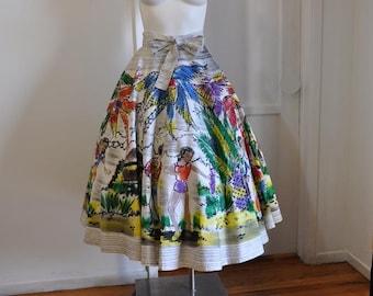 1950s circle skirt / Calyspo Dancer / Vintage Skirt / 50's Mexican Sequin Novelty Print Full Circle