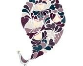Flower Peacock Art Print - Romance - Bird illustration, Animal Illustration, Wedding gift , Drawing, Illustration, Floral Patterns,