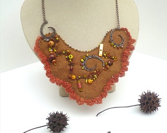 Fiber art bib felt bead embroidery necklace, BROWN FANTASY II, hand stitched, Coachella, romantic, statement, copper