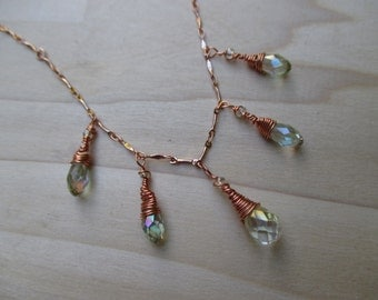 Swarovski Crystal Teardrop Necklace, Pale Green Crystal Necklace, Bridal Jewelry Mother's Day gift