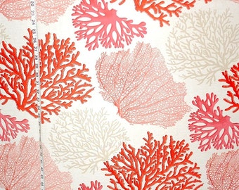 Red coral fabric orange salmon pink beach interior home decorating material 1 yard