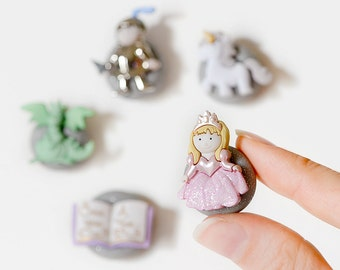 Mythical Fairy Tale Story Magnets Knight in Shining Armor, Princess, Dragon,Unicorn in Silver Glitter Polymer Clay. For Office, Kids, School