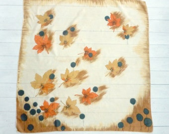 Vintage Silk Maple Leaves Scarf