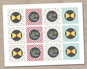 Little Man Printable Cupcake Toppers for Boys Baby Showers or Birthday Parties