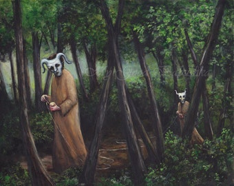 The Lost and the Damned, Original Painting, Dark Forest, Fairy Tale, Folk Tale, Macabre Art, White Masks, Labyrinth, Lost in the Forest