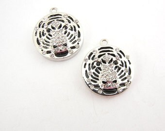 Round Tiger Head Charms with Rhinestone Silver-tone