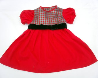 CHRISTMAS DRESS in red and plaid fabric