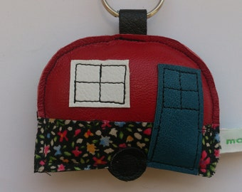 Handmade recycled upcycled vintage red leather caravan trailer camping applique keyring keychain gift FREE UK SHIPPING