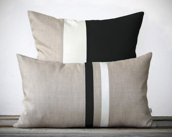 Modern Black and White Pillow Set - (12x20) Stripe and (20x20) Color Block by JillianReneDecor - Minimal Home Decor - Luxury Gift