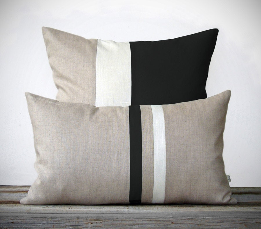Modern White Pillows : Modern Black and White Pillow Set 12x20 Stripe and 20x20
