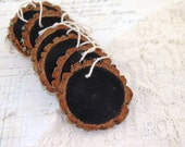 Chalkboard Wood Slice Christmas Holiday Tree Ornament