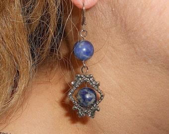 Sodalite earrings, lapis earrings, boho earrings, gypsy jewelry, dangle earrings, mothers day gift, bohemian earrings, sodalite jewelry