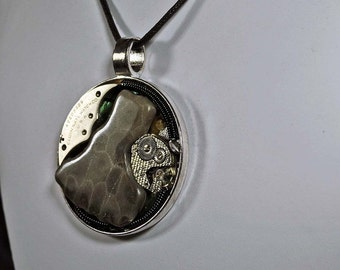 Michigan Petoskey stone steampunk art pendant  necklace with vintage watch parts one of a kind steampunk style
