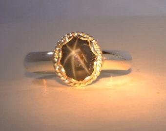 Dark Blue Star Sapphire Solitaire Handmade Sterling Silver Ladies Ring size 6